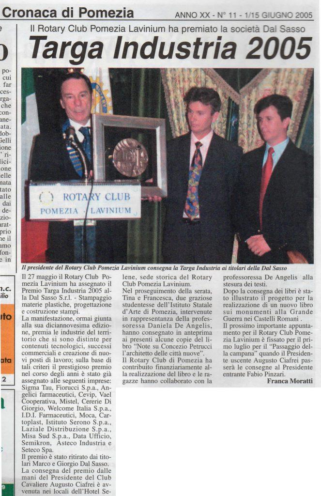 L'articolo sul premio assegnato alla Dal Sasso srl dal Rotary club
